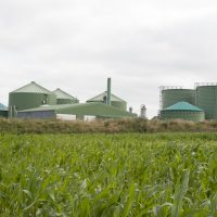 Schleswig Holstein, Germany - May 4, 2014: Biogas plant for power generation and energy