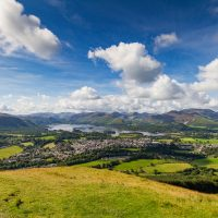 Panoramic view of Keswick and lake Derwent Water from Latrigg Cumbria UK